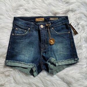 STS Blue High Waist Jean Shorts w Cuff NEW